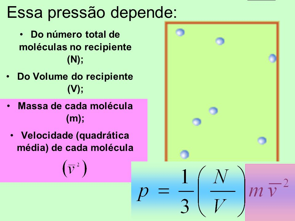 Essa pressão depende: Do número total de moléculas no recipiente (N);