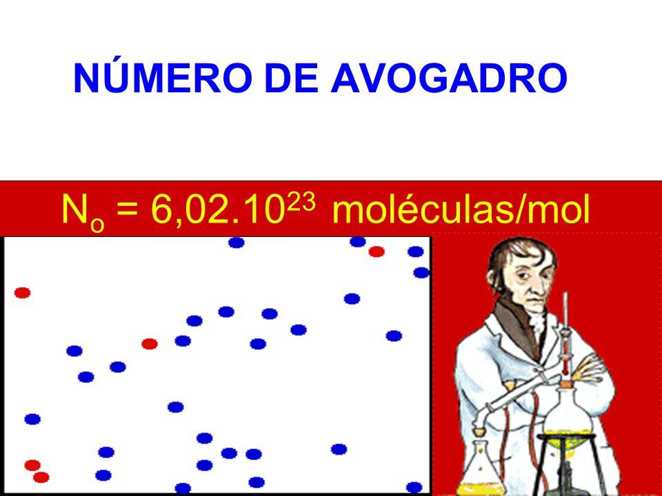 NÚMERO DE AVOGADRO No = 6,02.1023 moléculas/mol