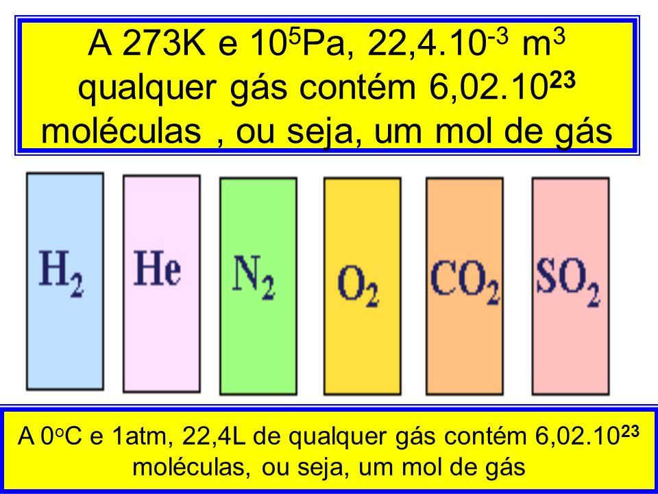 A 273K e 105Pa, 22,4. 10-3 m3 qualquer gás contém 6,02
