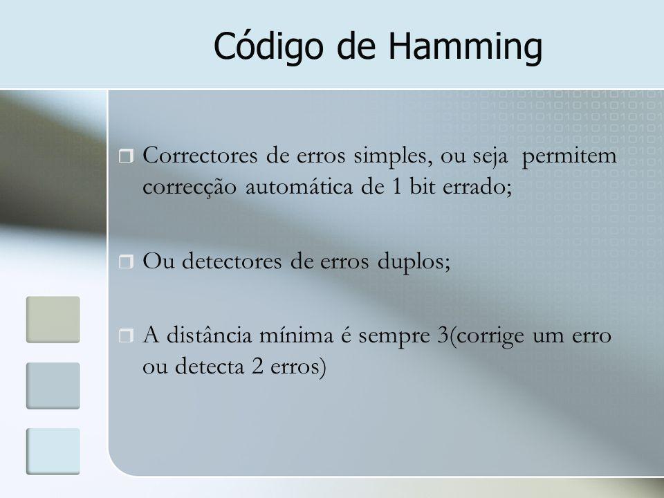 Código de Hamming Correctores de erros simples, ou seja permitem correcção automática de 1 bit errado;
