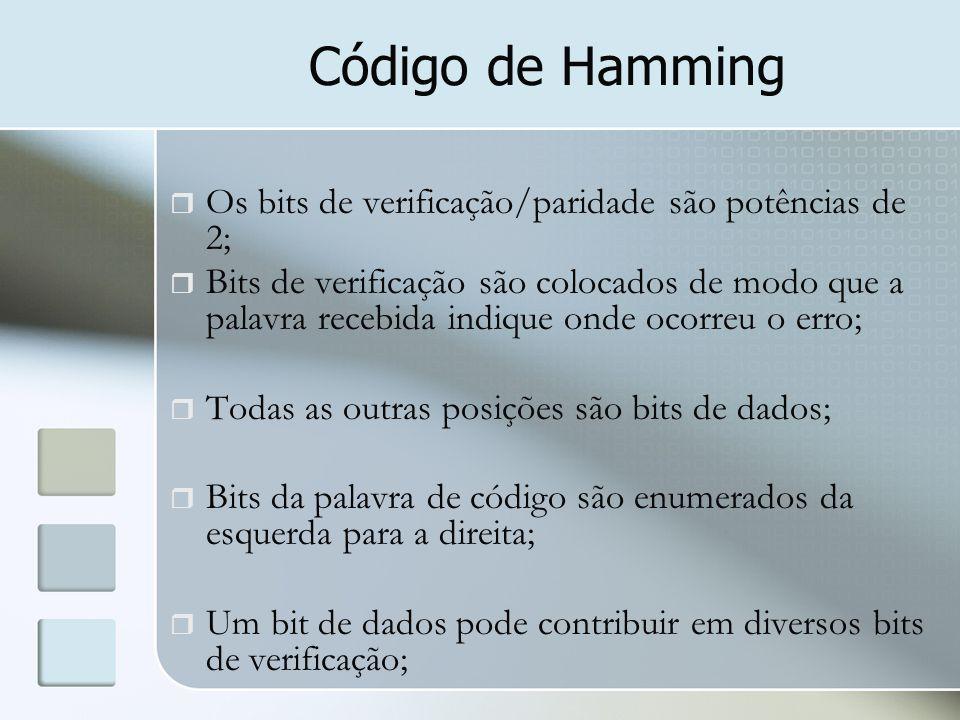 Código de Hamming Os bits de verificação/paridade são potências de 2;