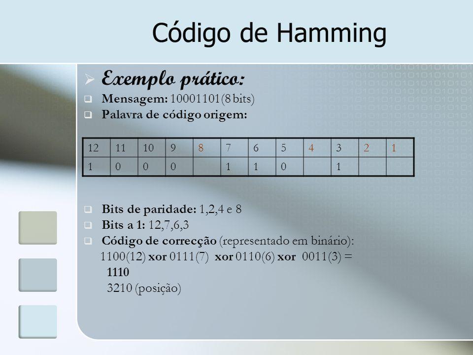 Código de Hamming Exemplo prático: Mensagem: 10001101(8 bits)