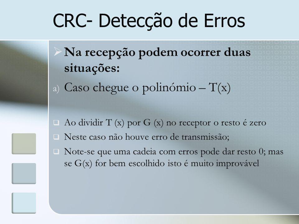 CRC- Detecção de Erros Na recepção podem ocorrer duas situações: