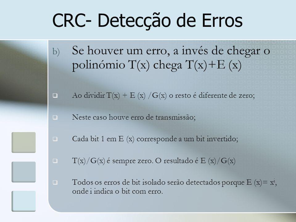 CRC- Detecção de Erros Se houver um erro, a invés de chegar o polinómio T(x) chega T(x)+E (x)