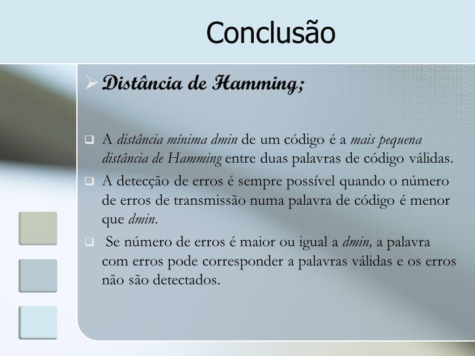Conclusão Distância de Hamming;
