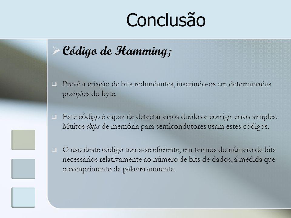 Conclusão Código de Hamming;