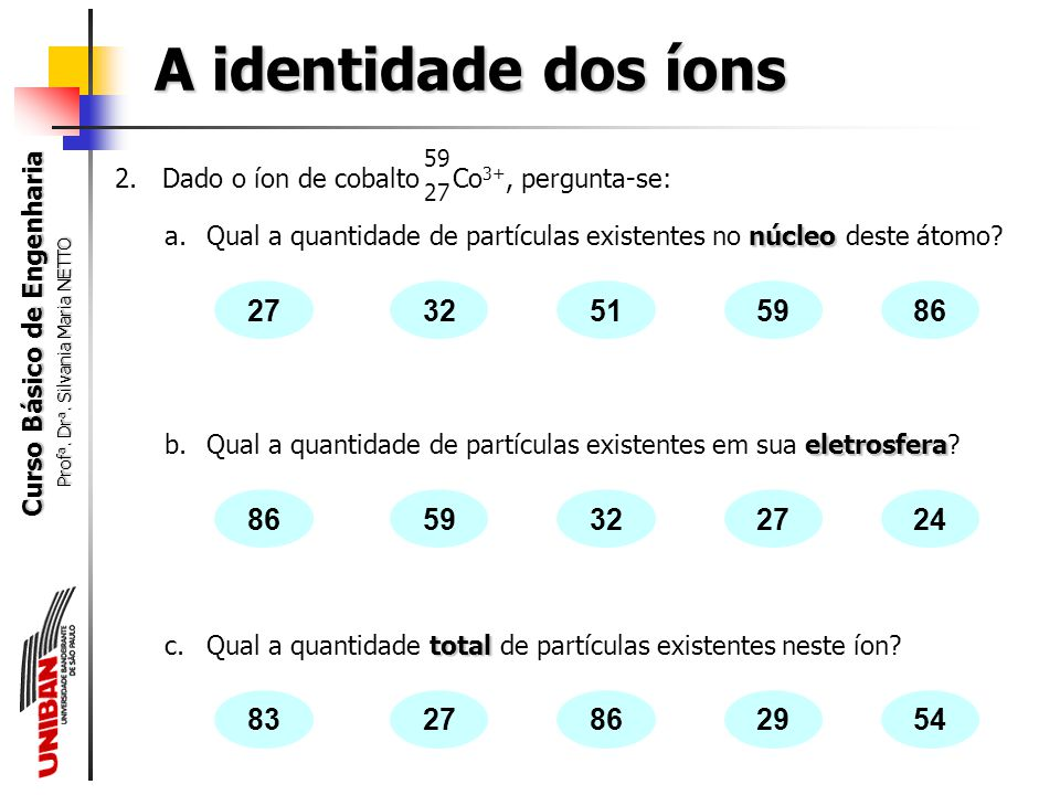 A identidade dos íons 59. 2. Dado o íon de cobalto Co3+, pergunta-se: 27.