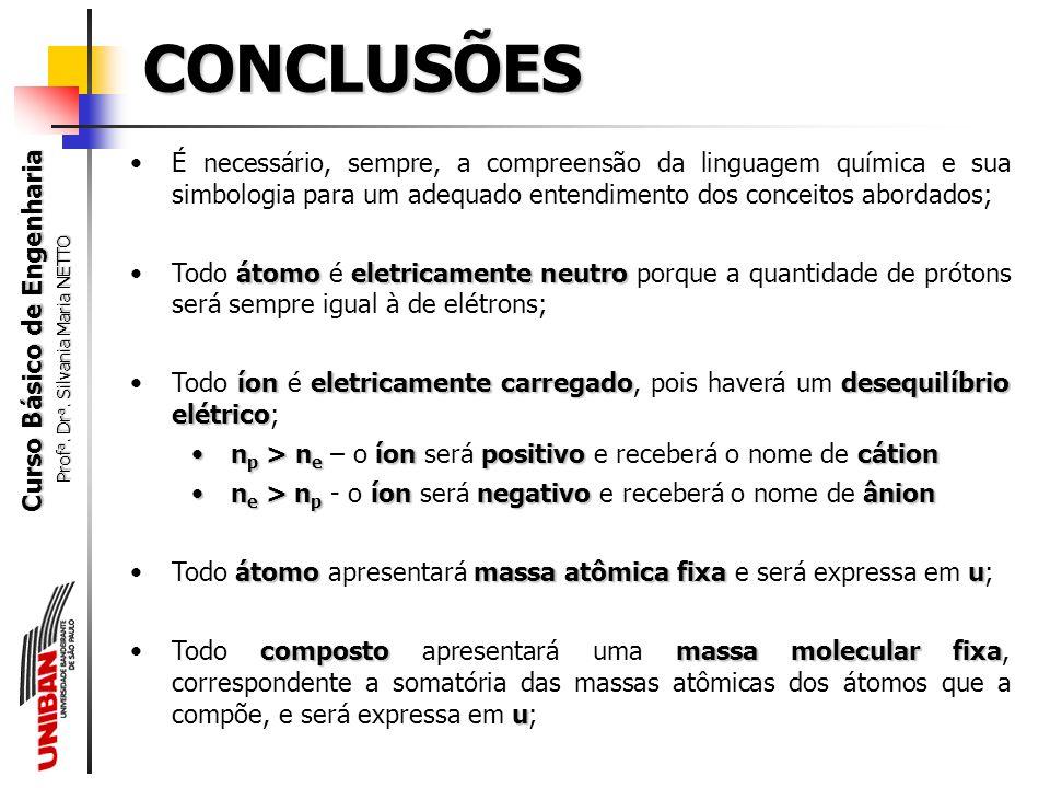 CONCLUSÕES É necessário, sempre, a compreensão da linguagem química e sua simbologia para um adequado entendimento dos conceitos abordados;