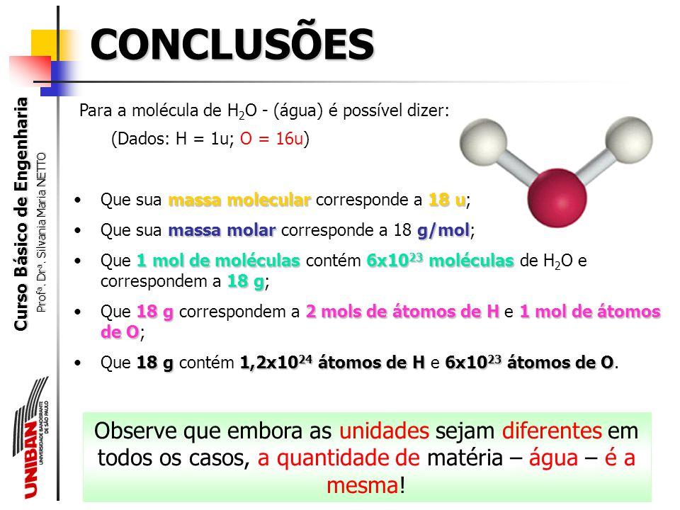 CONCLUSÕES Para a molécula de H2O - (água) é possível dizer: (Dados: H = 1u; O = 16u) Que sua massa molecular corresponde a 18 u;