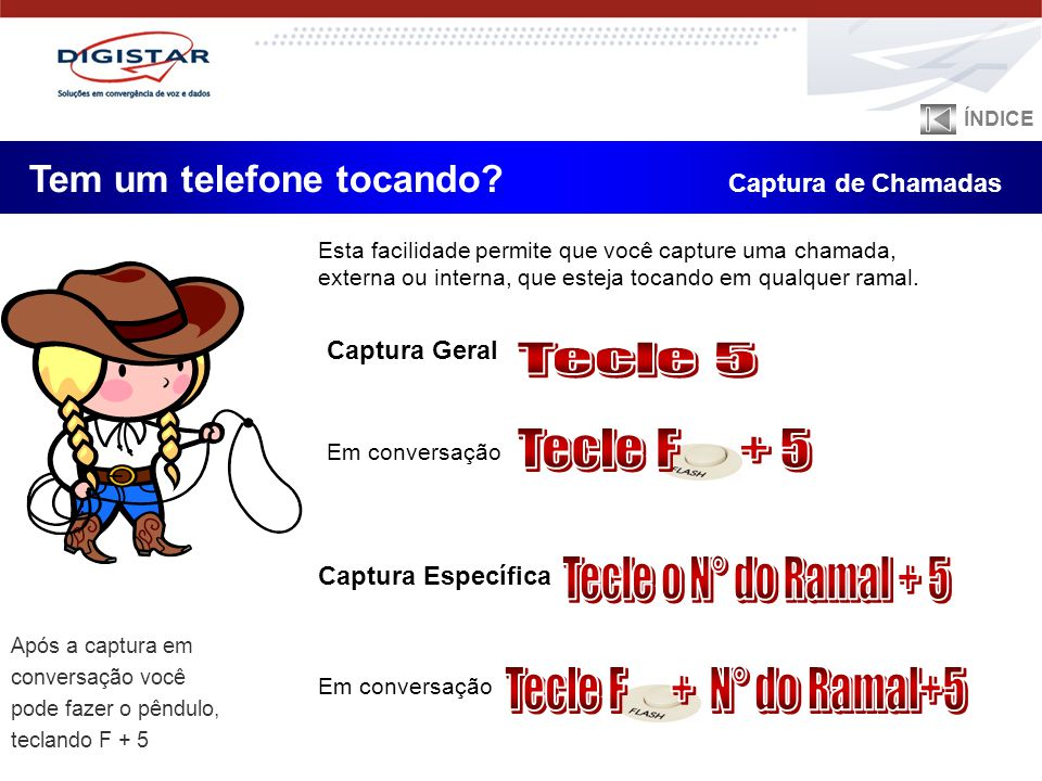 Tecle 5 Tecle F + 5 Tecle o N° do Ramal + 5 Tecle F + N° do Ramal+5