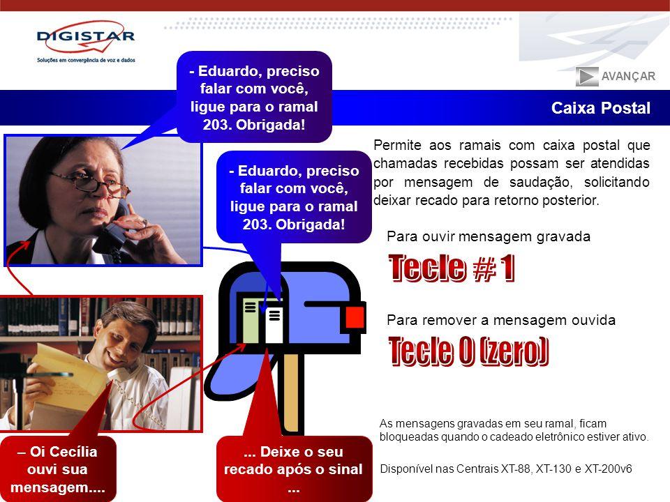 Tecle # 1 Tecle 0 (zero) Caixa Postal