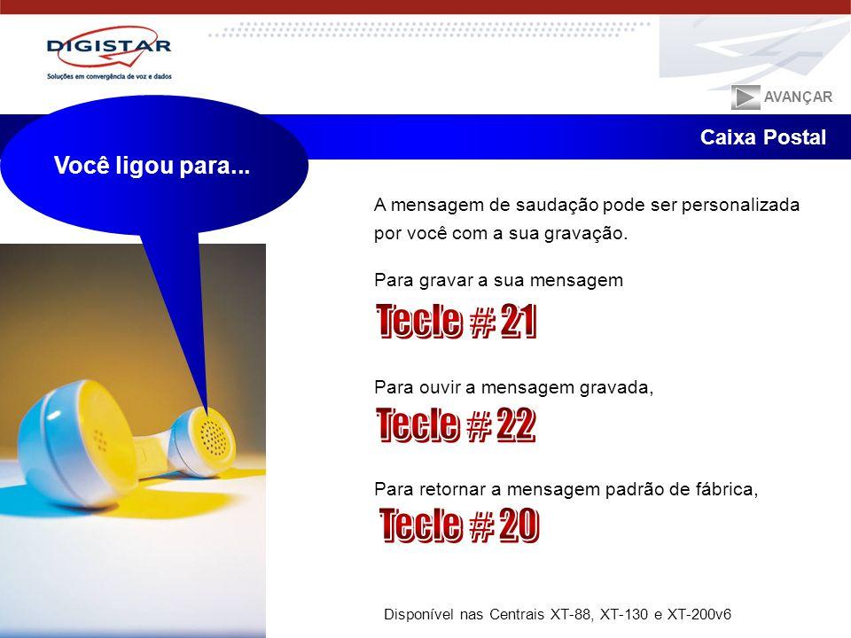 Tecle # 21 Tecle # 22 Tecle # 20 Você ligou para... Caixa Postal