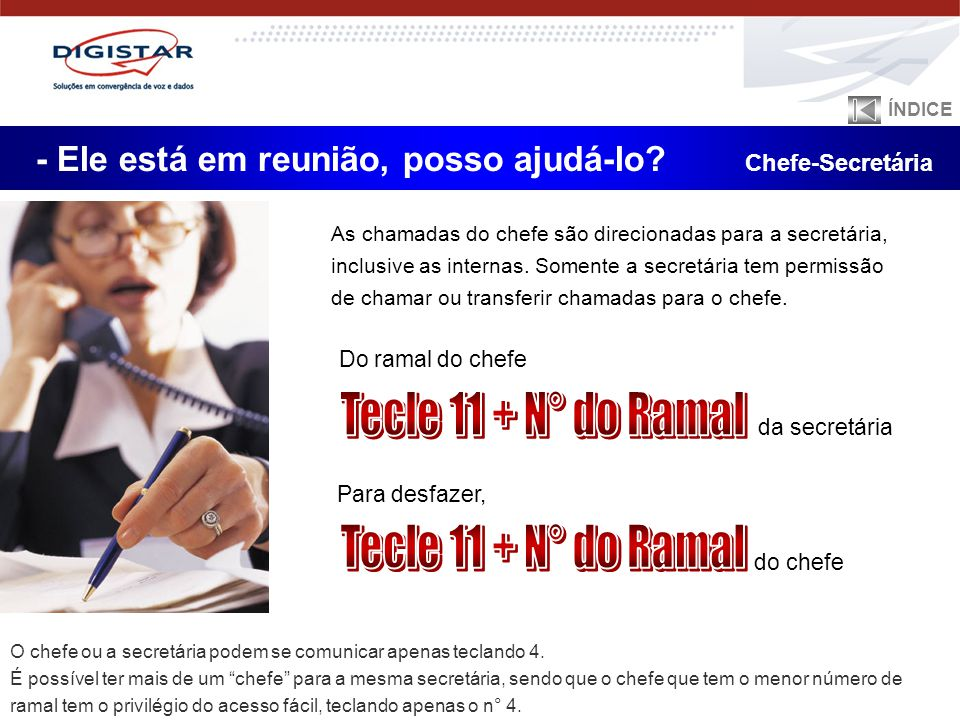 Tecle 11 + N° do Ramal Tecle 11 + N° do Ramal