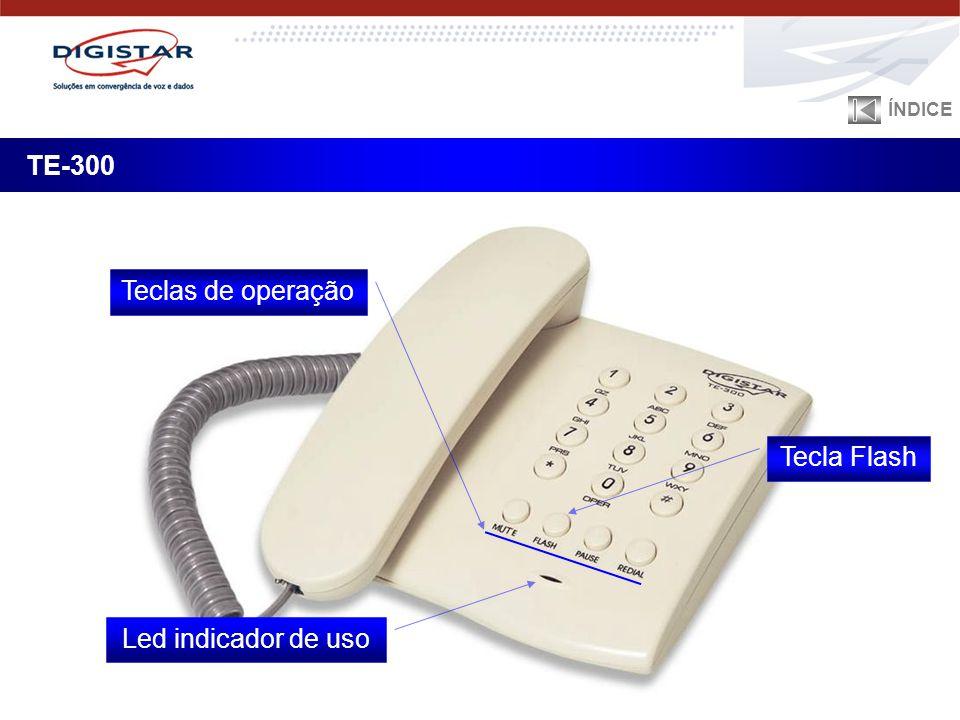 ÍNDICE TE-300 Teclas de operação Tecla Flash Led indicador de uso