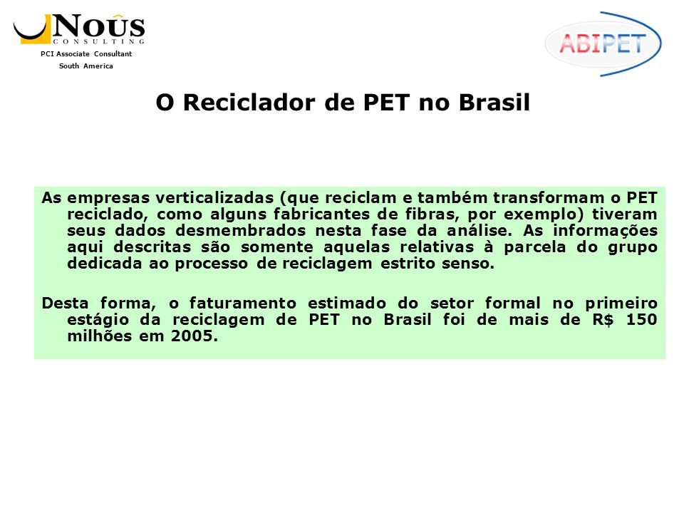 O Reciclador de PET no Brasil