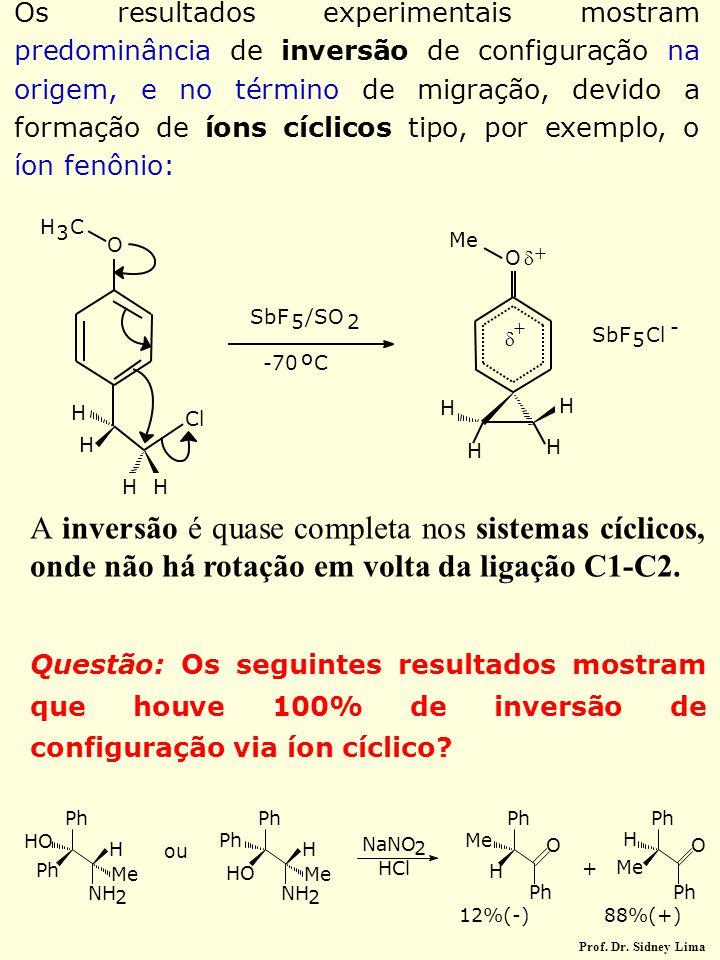 Os resultados experimentais mostram predominância de inversão de configuração na origem, e no término de migração, devido a formação de íons cíclicos tipo, por exemplo, o íon fenônio: