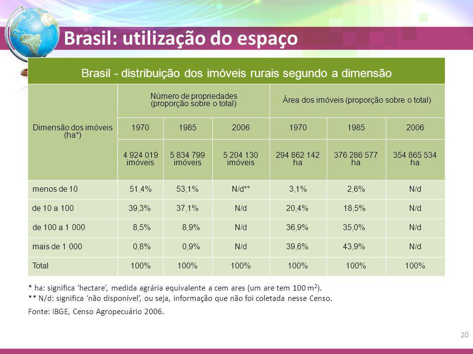 Brasil - distribuição dos imóveis rurais segundo a dimensão