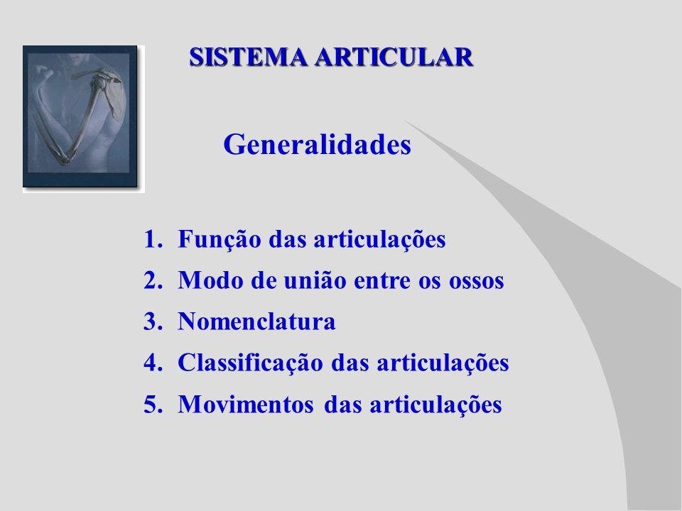 Generalidades SISTEMA ARTICULAR Função das articulações