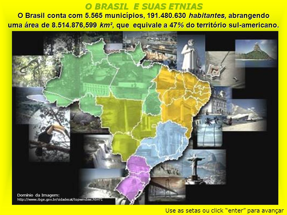 O BRASIL E SUAS ETNIAS O Brasil conta com 5.565 municípios, 191.480.630 habitantes, abrangendo.