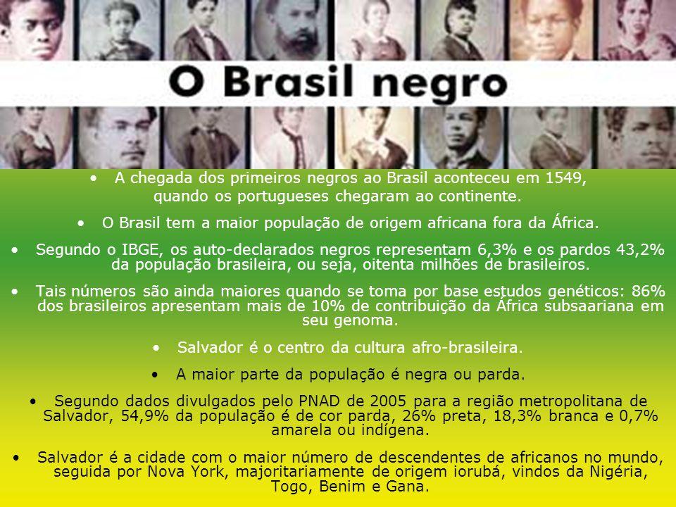 A chegada dos primeiros negros ao Brasil aconteceu em 1549,