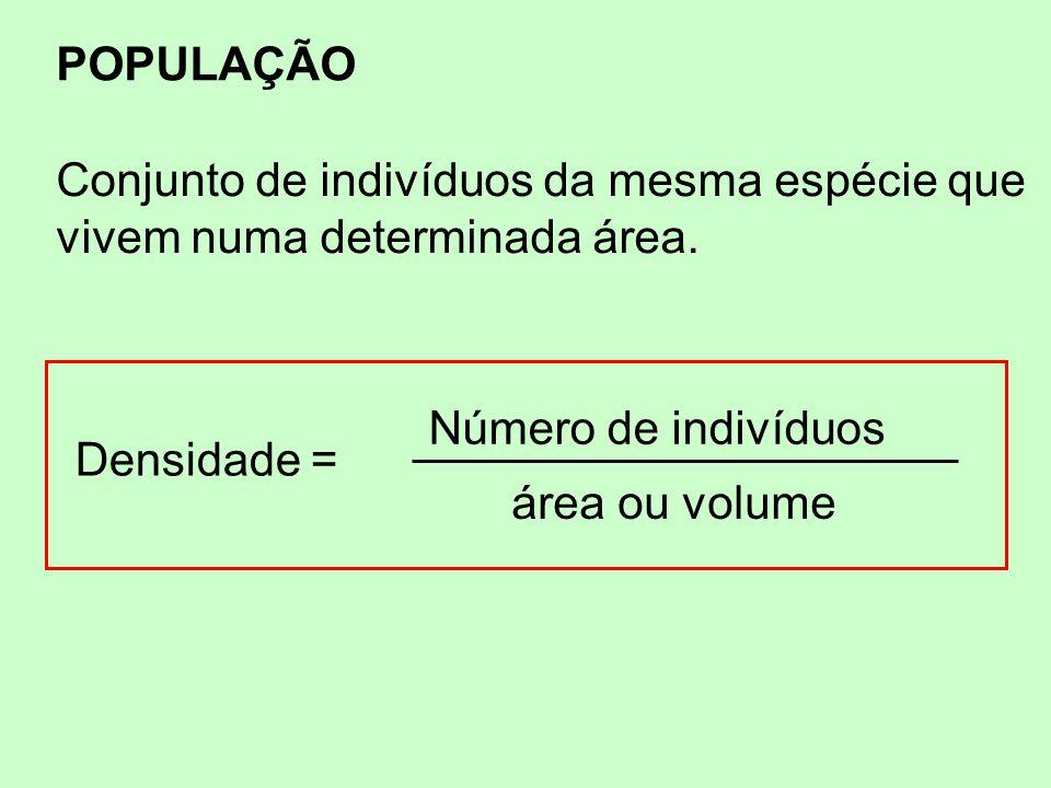 POPULAÇÃO Conjunto de indivíduos da mesma espécie que. vivem numa determinada área. Densidade = Número de indivíduos.