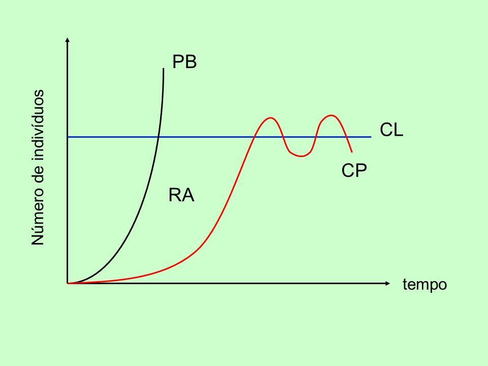 Número de indivíduos tempo PB CL CP RA