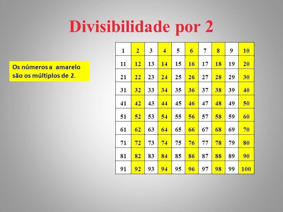 Divisibilidade por 2 Os números a amarelo são os múltiplos de 2. 1 2 3