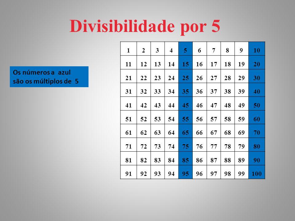 Divisibilidade por 5 Os números a azul são os múltiplos de 5 1 2 3 4 5