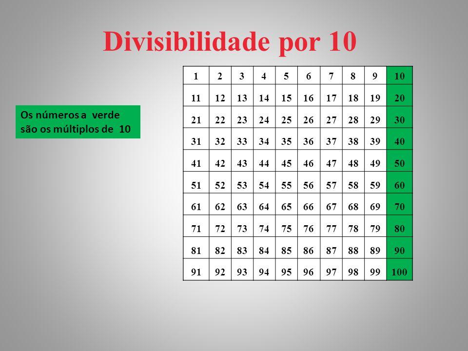 Divisibilidade por 10 Os números a verde são os múltiplos de 10 1 2 3