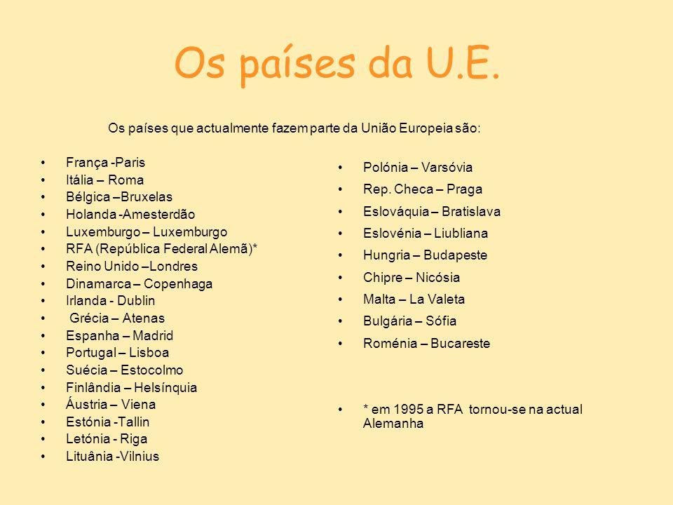 Os países da U.E. Os países que actualmente fazem parte da União Europeia são: França -Paris. Itália – Roma.