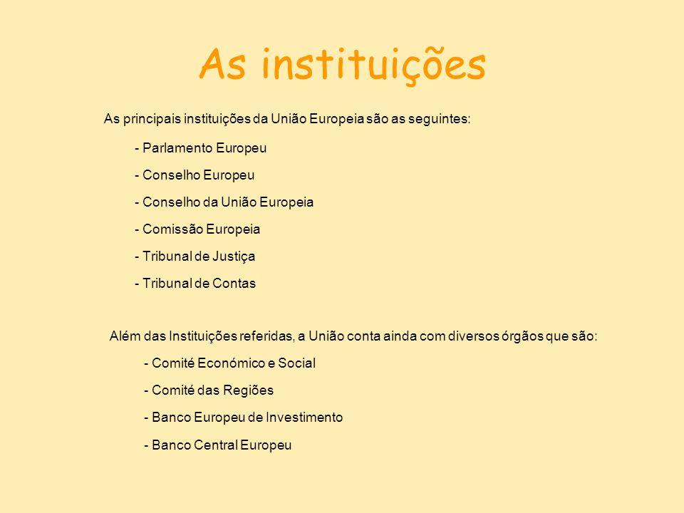 As instituições As principais instituições da União Europeia são as seguintes: - Parlamento Europeu.