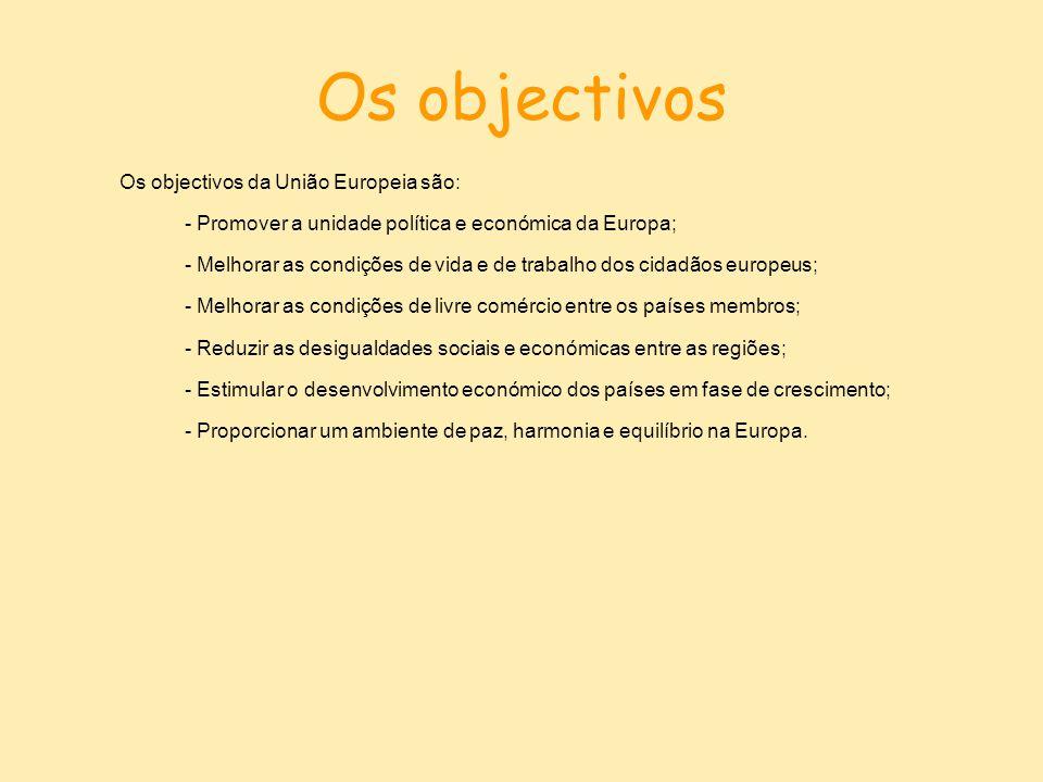 Os objectivos Os objectivos da União Europeia são: