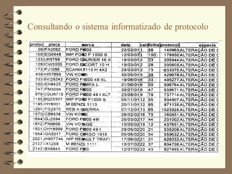 Consultando o sistema informatizado de protocolo