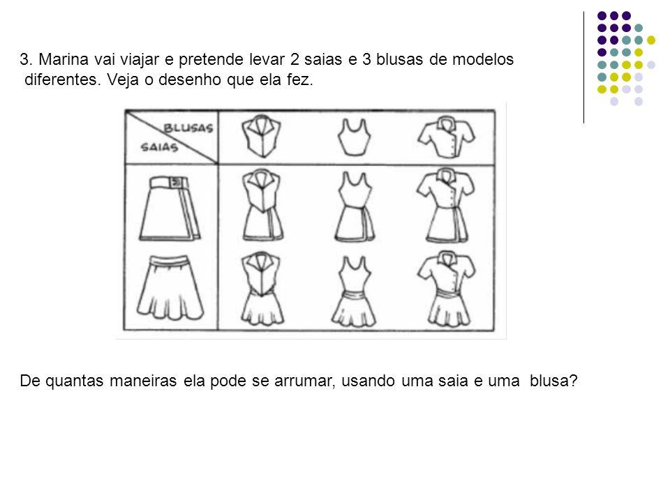 3. Marina vai viajar e pretende levar 2 saias e 3 blusas de modelos