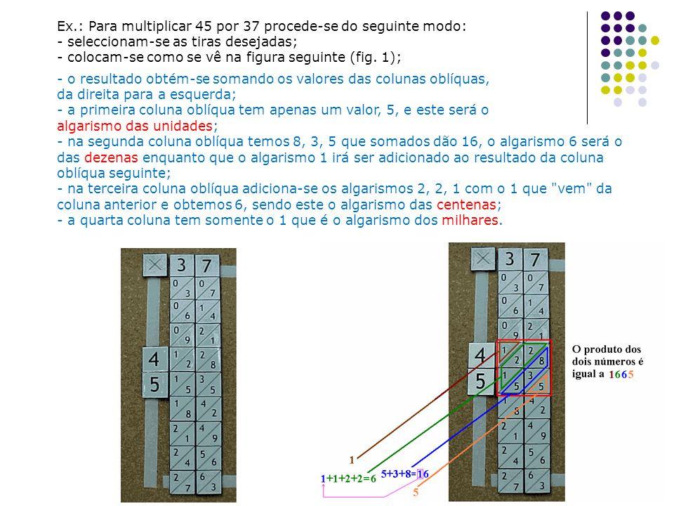 Ex.: Para multiplicar 45 por 37 procede-se do seguinte modo: