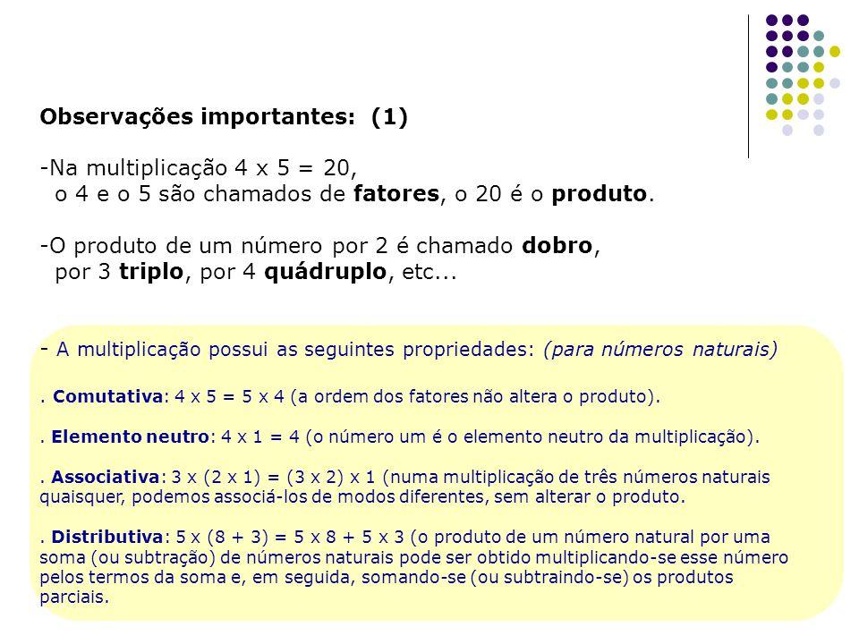 Observações importantes: (1) Na multiplicação 4 x 5 = 20,
