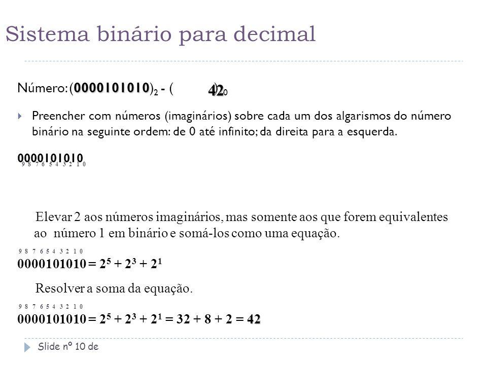 Sistema binário para decimal