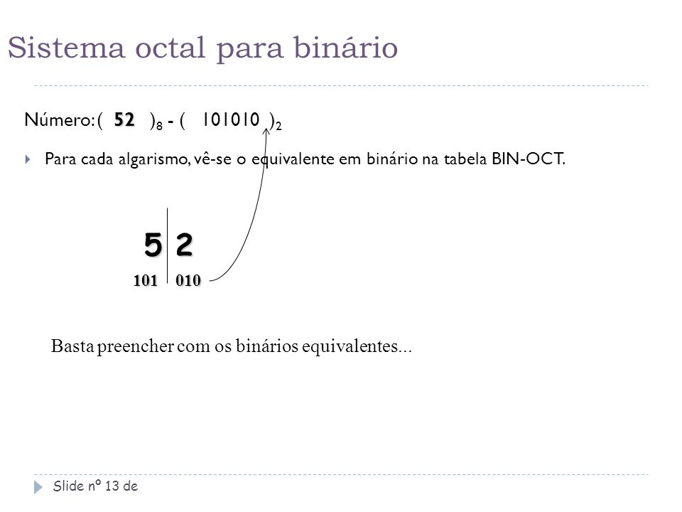 Sistema octal para binário