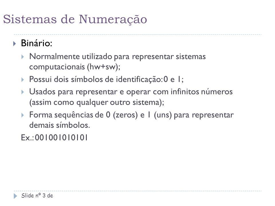Sistemas de Numeração Binário: