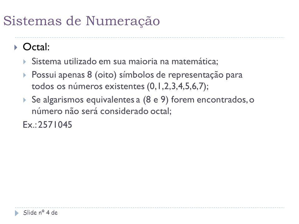Sistemas de Numeração Octal: