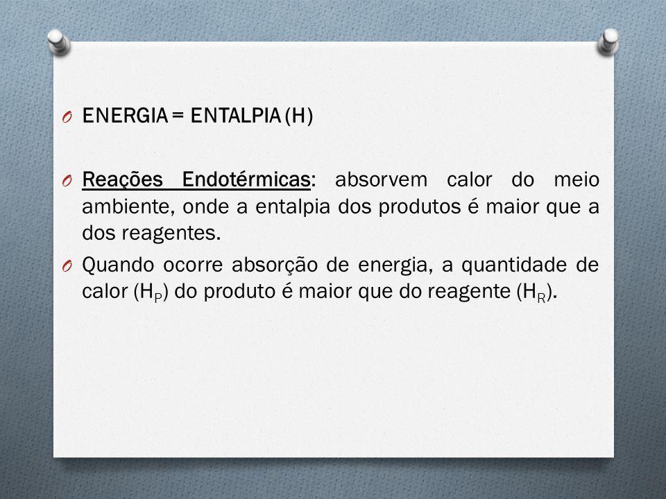 ENERGIA = ENTALPIA (H) Reações Endotérmicas: absorvem calor do meio ambiente, onde a entalpia dos produtos é maior que a dos reagentes.