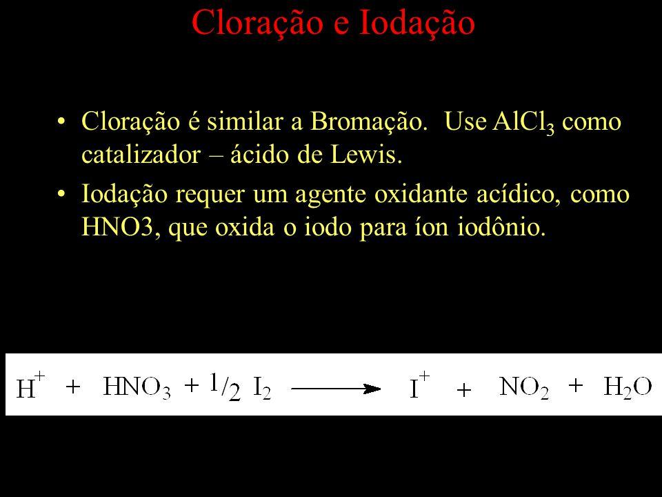 Cloração e Iodação Cloração é similar a Bromação. Use AlCl3 como catalizador – ácido de Lewis.
