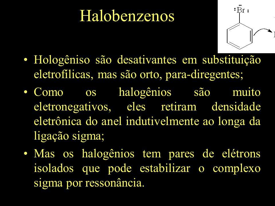 Halobenzenos Hologêniso são desativantes em substituição eletrofílicas, mas são orto, para-diregentes;