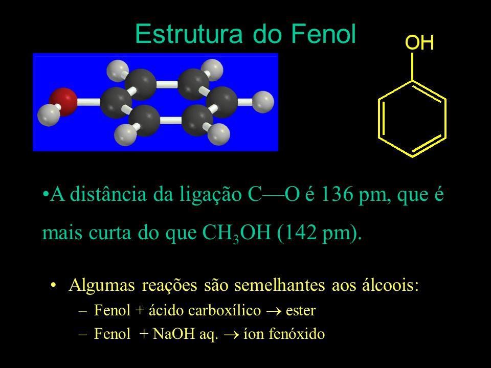 Estrutura do Fenol A distância da ligação C—O é 136 pm, que é