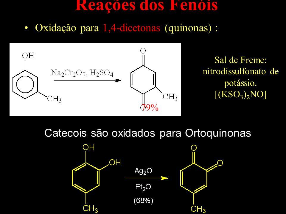 Reações dos Fenóis Oxidação para 1,4-dicetonas (quinonas) :
