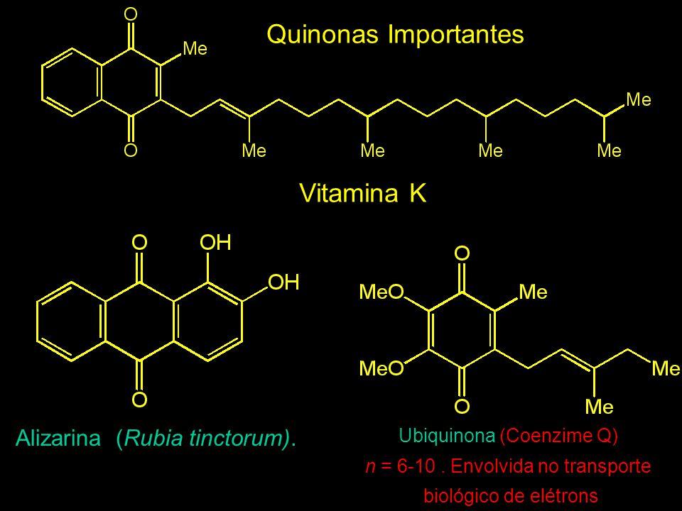 Quinonas Importantes Vitamina K Alizarina (Rubia tinctorum).