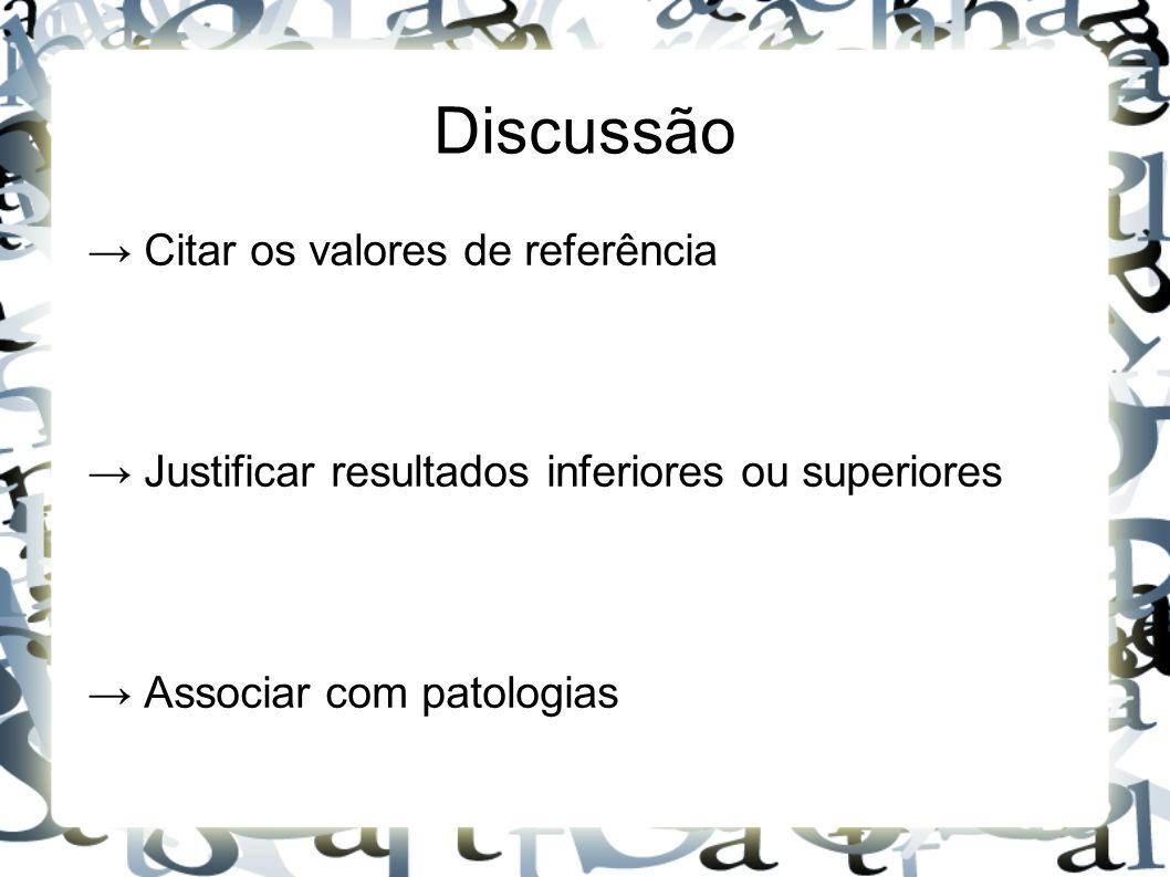 Discussão → Citar os valores de referência