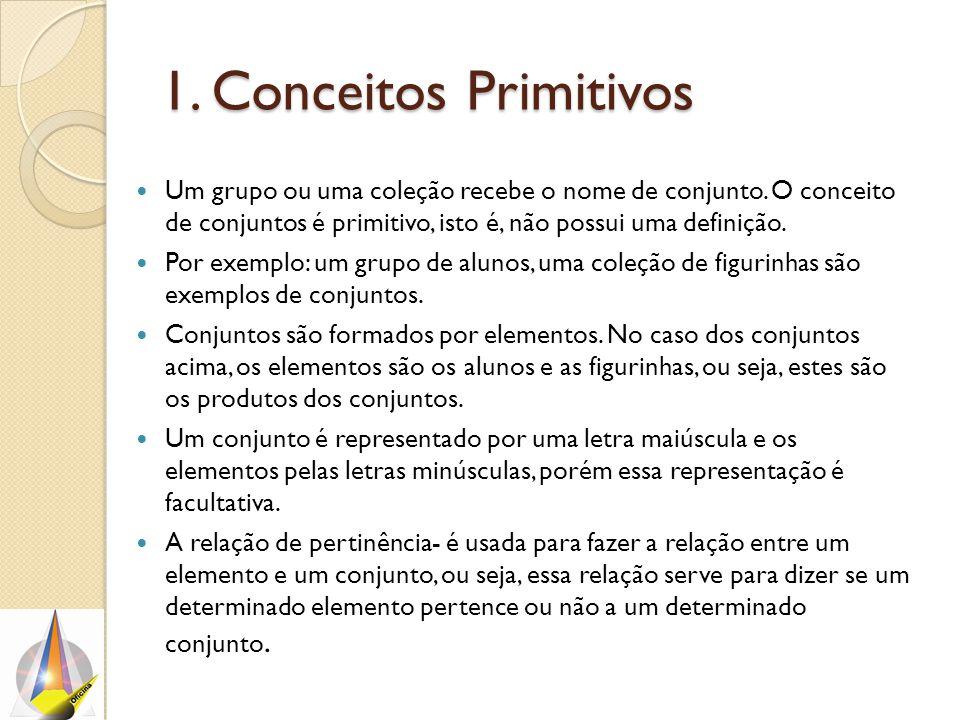 1. Conceitos Primitivos Um grupo ou uma coleção recebe o nome de conjunto. O conceito de conjuntos é primitivo, isto é, não possui uma definição.