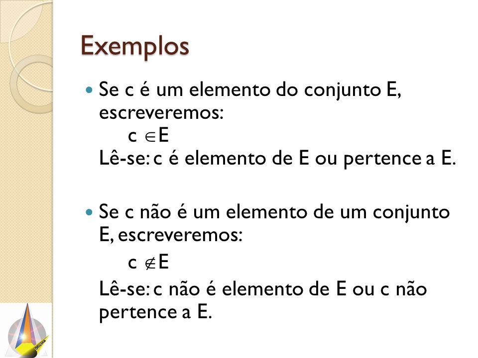 Exemplos Se c é um elemento do conjunto E, escreveremos: c E Lê-se: c é elemento de E ou pertence a E.