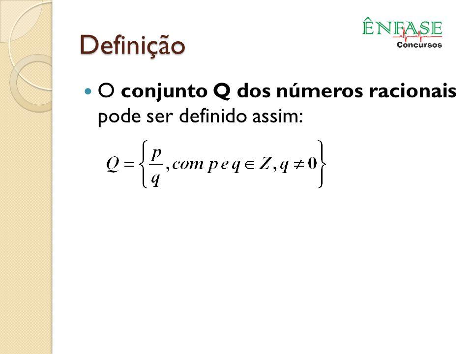 Definição O conjunto Q dos números racionais pode ser definido assim: